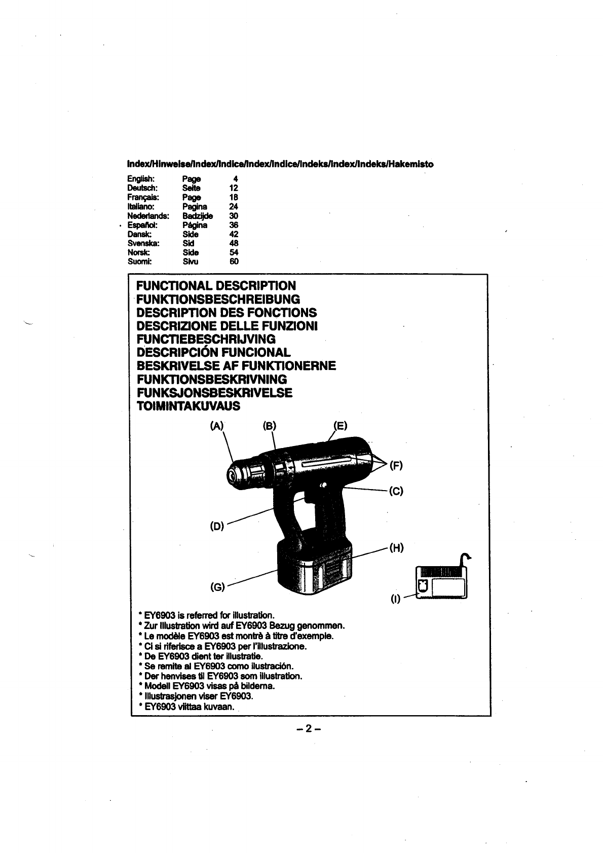 Page 2 of Panasonic Cordless Drill EY6903 User Guide