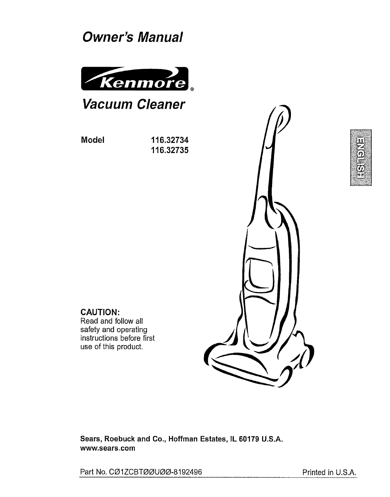 Kenmore Vacuum Cleaner 116.32734 User Guide