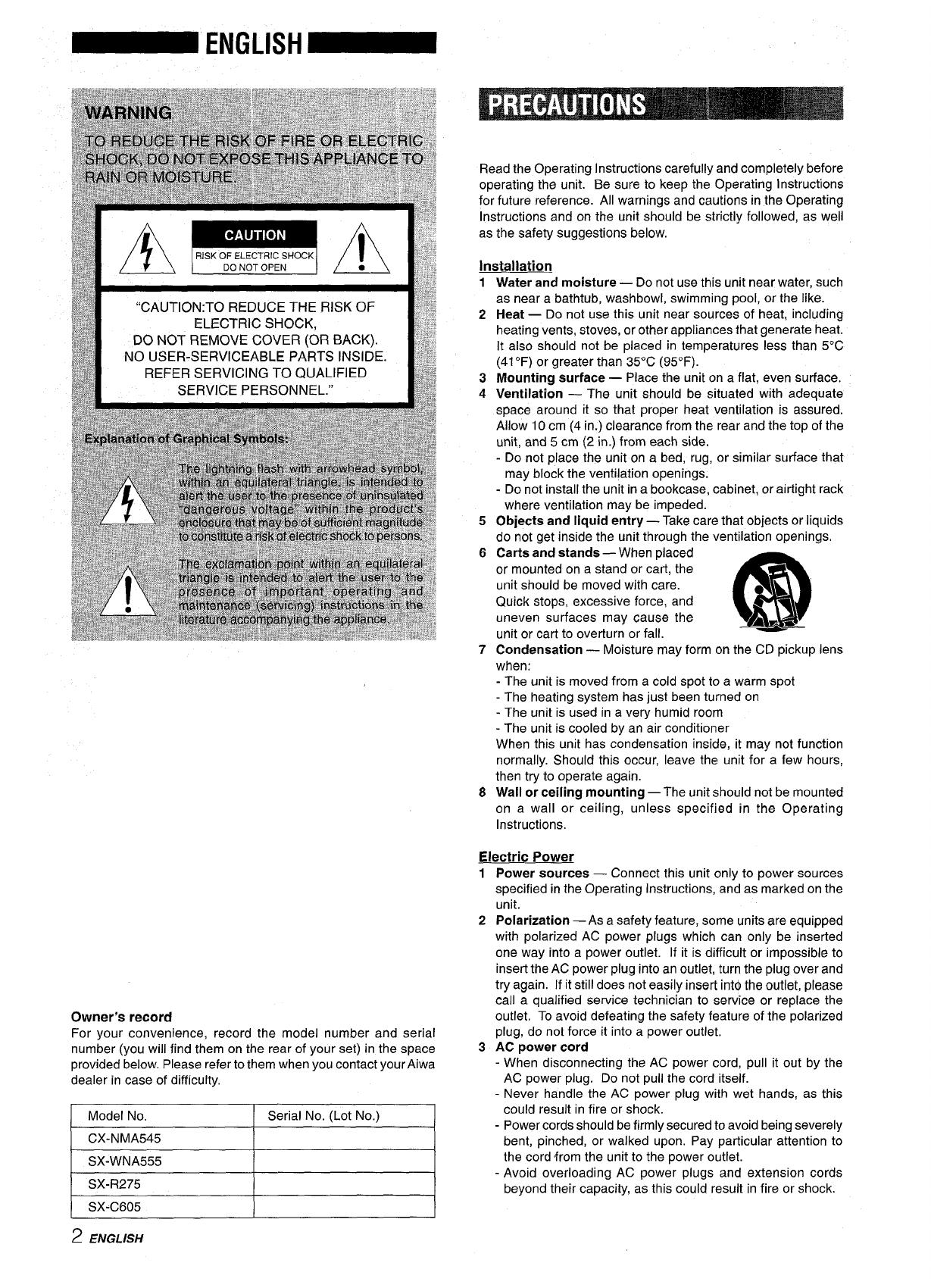 Page 2 of Aiwa Stereo System SX-C605 User Guide