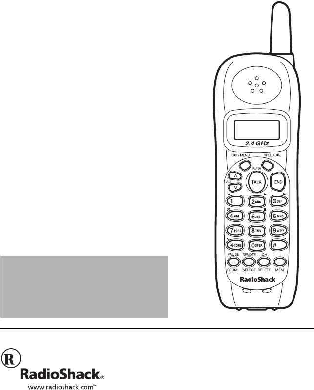 Radio Shack Cordless Telephone 43-3857 User Guide