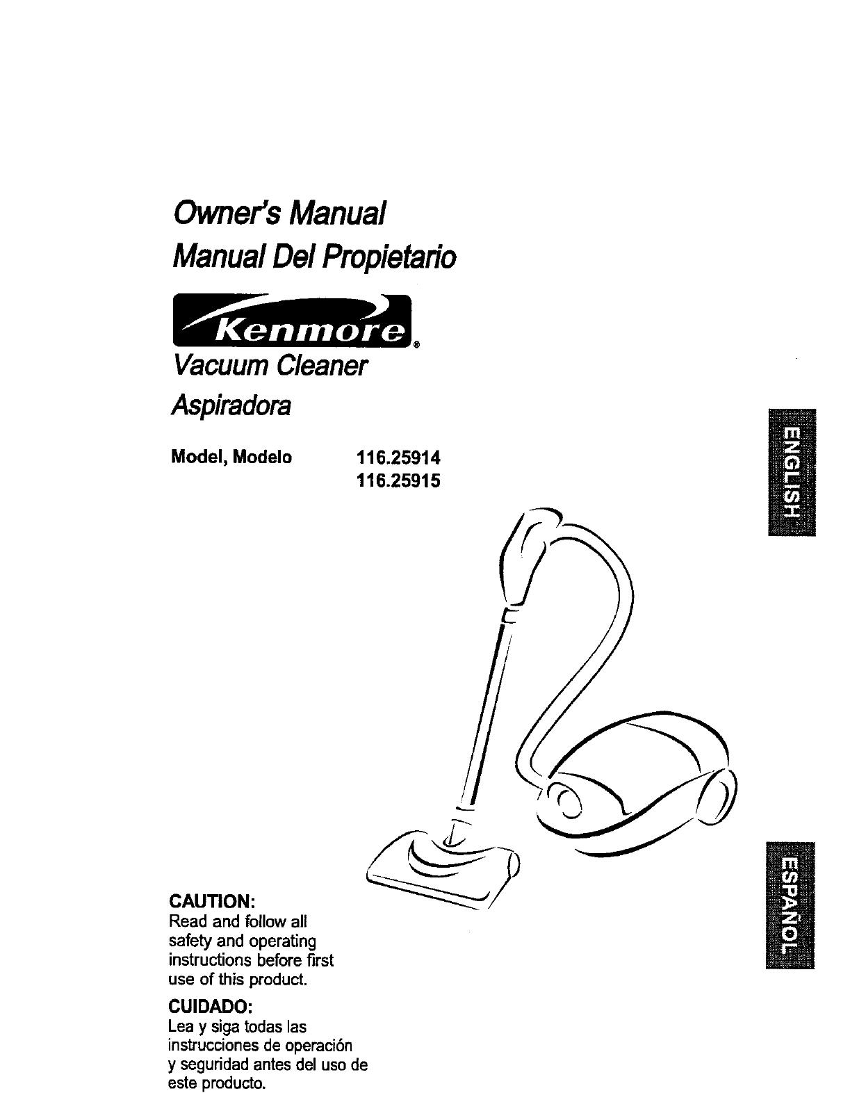 Kenmore Vacuum Cleaner 116.25915 User Guide