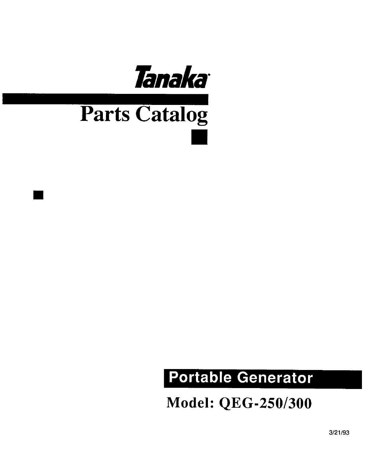 Tanaka Portable Generator QEG-250/300 User Guide