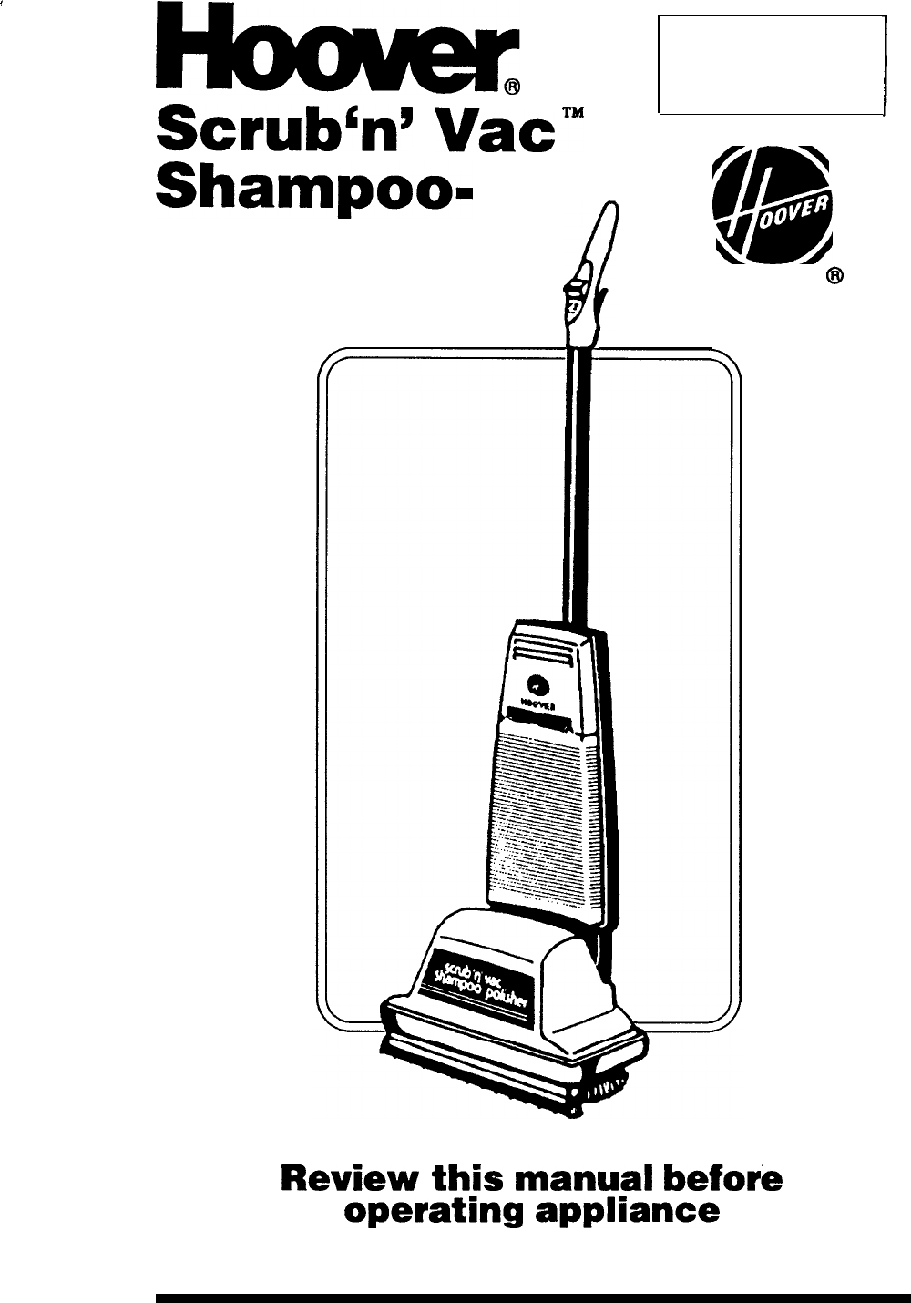 Hoover Carpet Cleaner Shampoo- Polisher User Guide