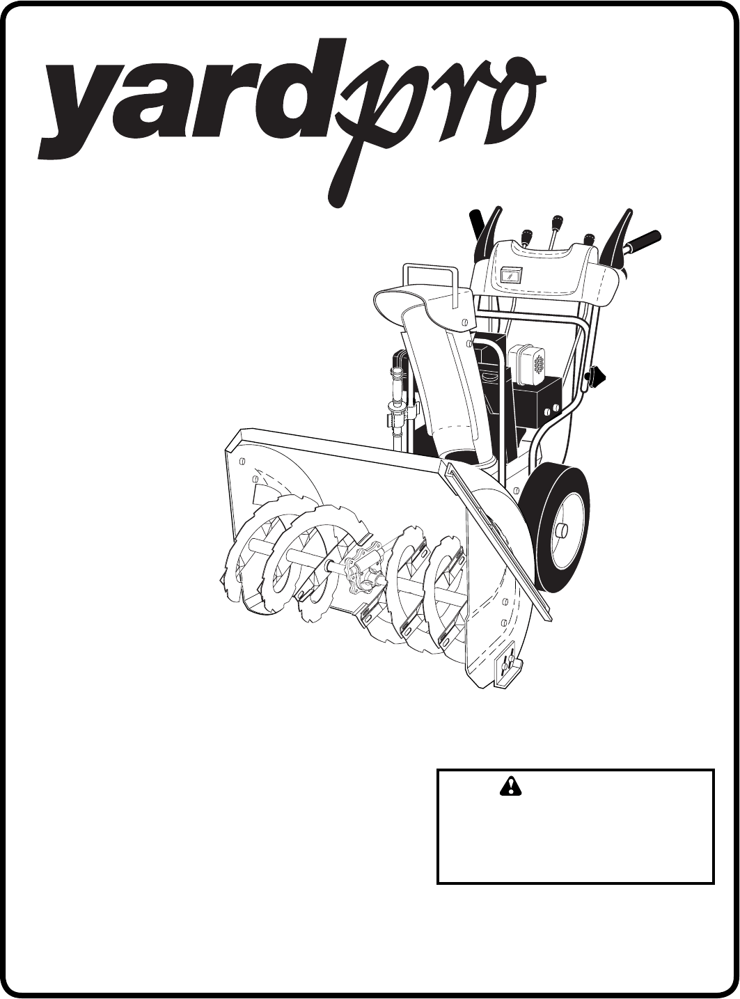 Yard Machines Snow Blower 961940001 User Guide