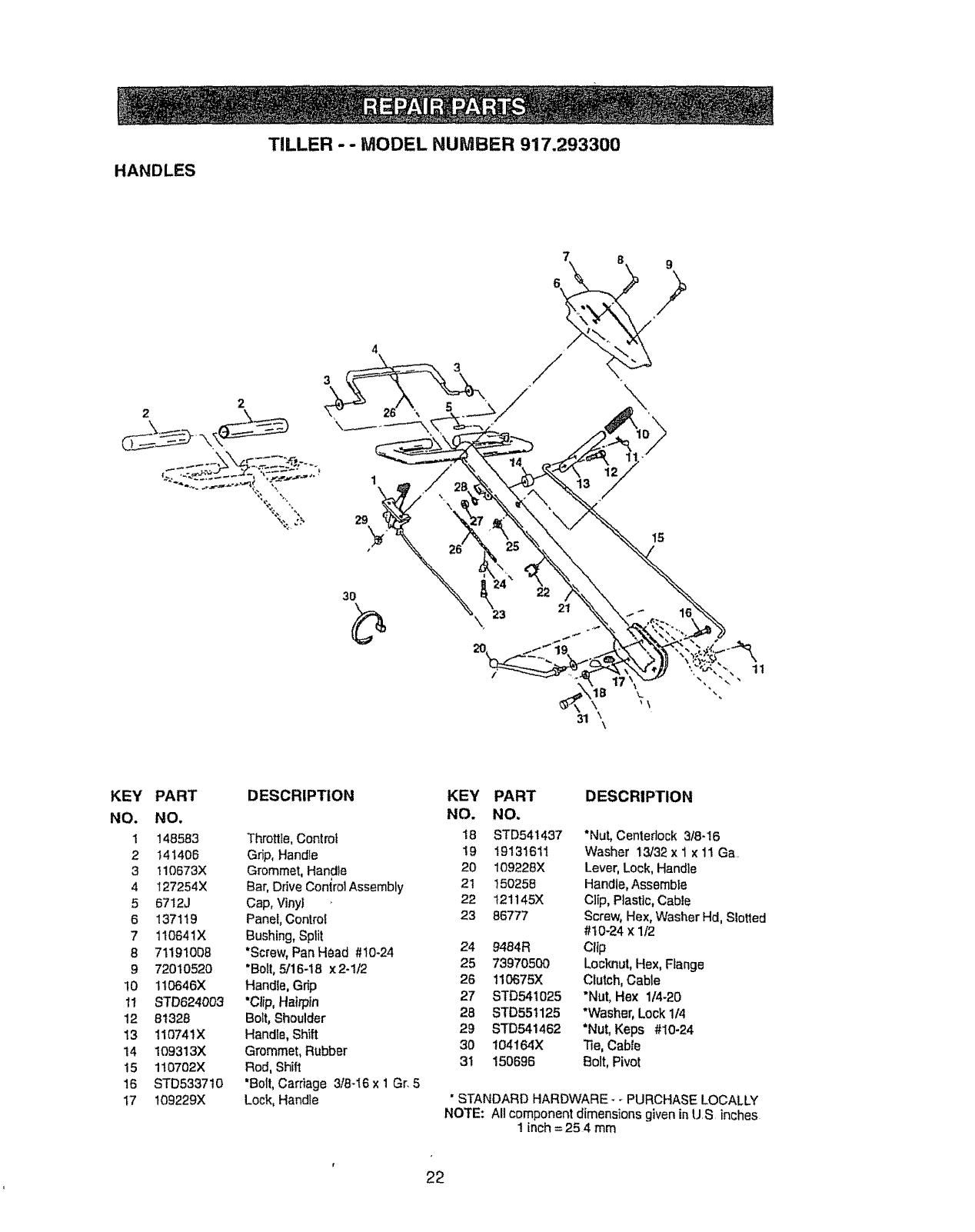 Page 22 of Craftsman Tiller 917.2933 User Guide