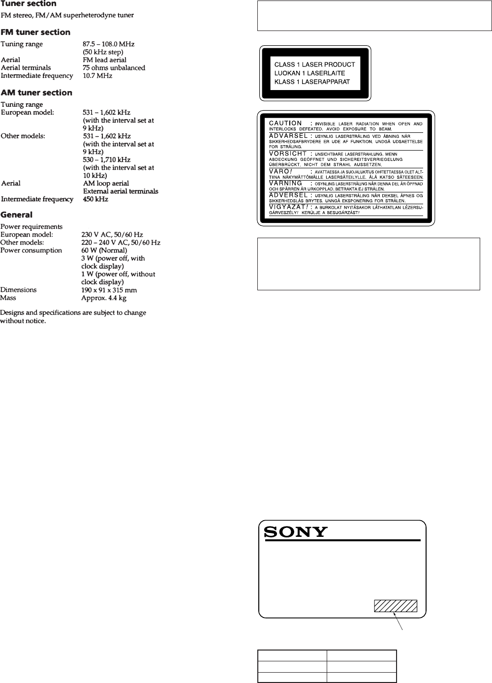 Page 2 of Sony Car Stereo System hcd-sd1 User Guide