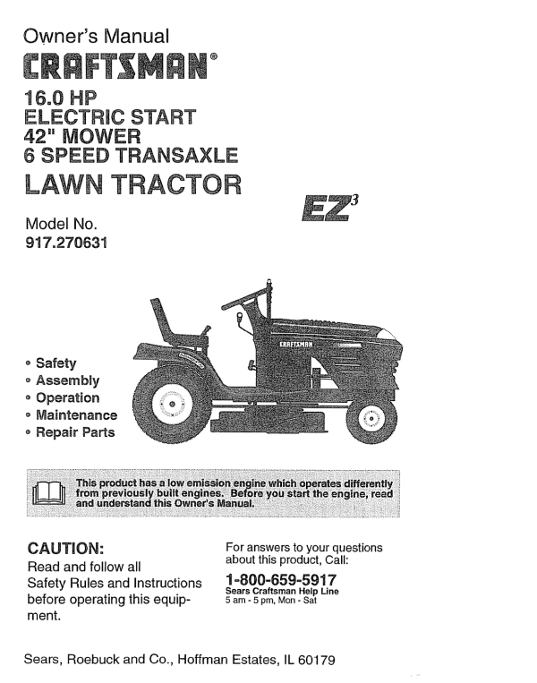 Craftsman Riding Lawn Mower Owners Manual - Year of Clean Water