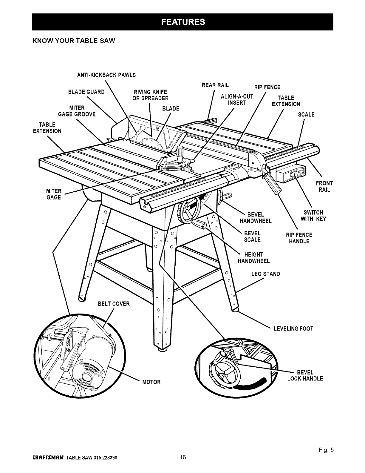 Page 16 of Craftsman Saw 315.22839 User Guide
