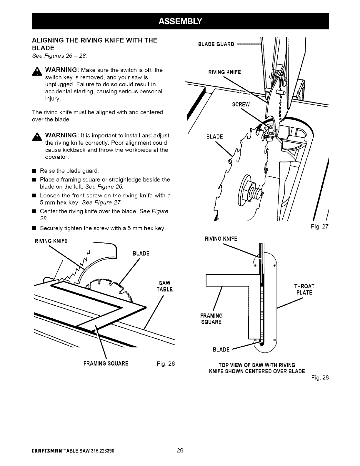 Page 26 of Craftsman Saw 315.22839 User Guide