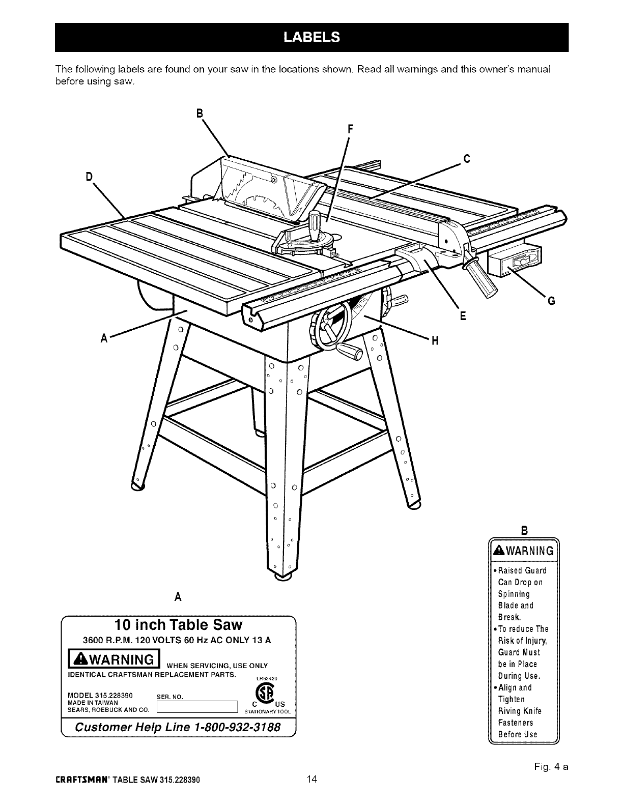 Page 14 of Craftsman Saw 315.22839 User Guide
