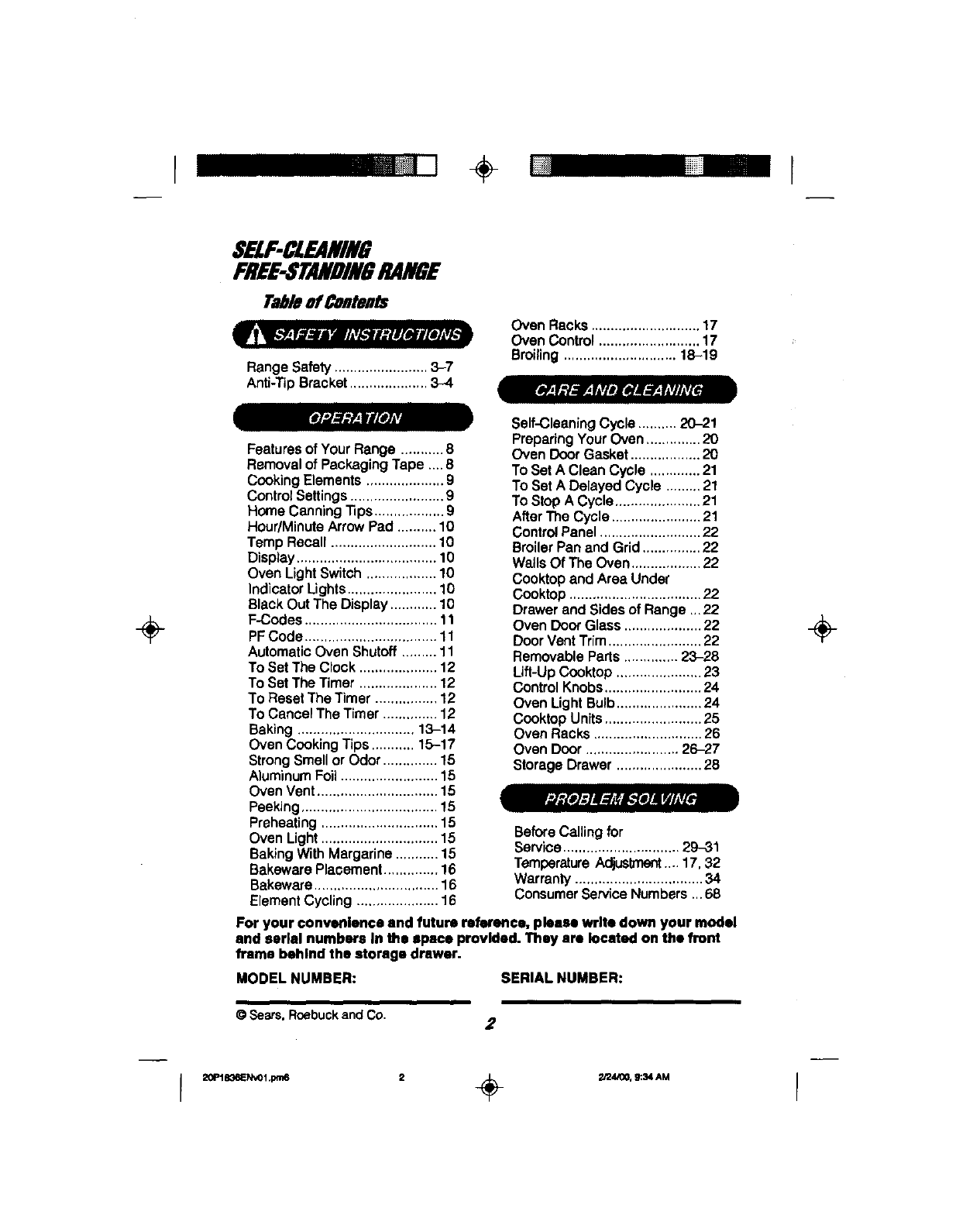 Page 2 of Kenmore Oven 911.93501 User Guide