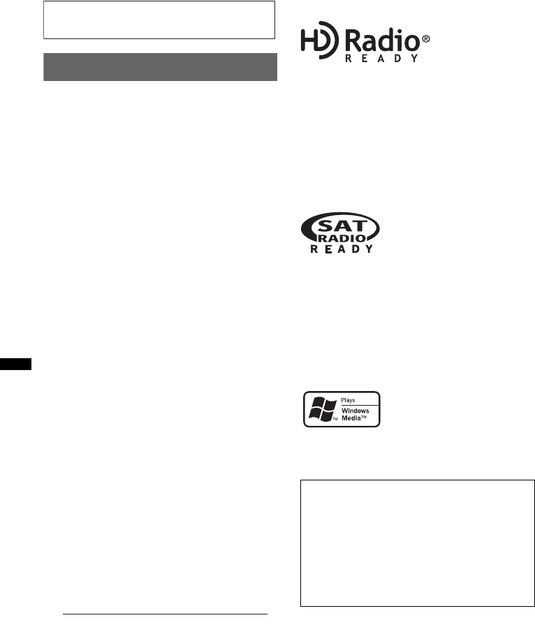 Page 2 of Sony Car Stereo System CDX-GT330 User Guide