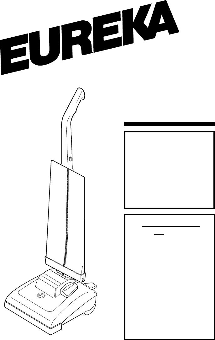 Eureka Vacuum Cleaner 7600 SERIES User Guide