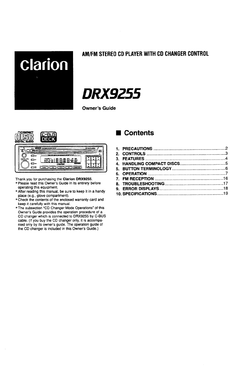 Clarion Car Stereo System DRX9255 User Guide