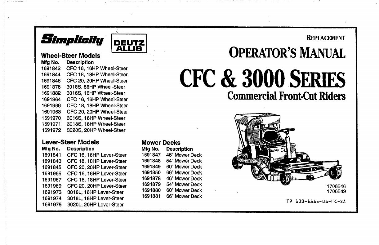 Simplicity Lawn Mower CFC & 3000 Series User Guide
