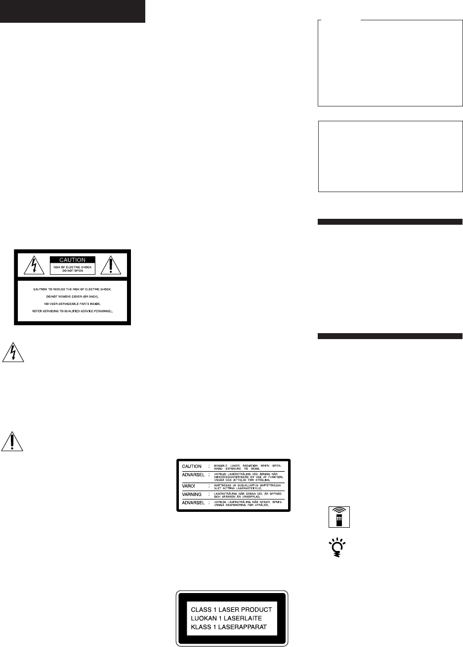 Page 2 of Sony CD Player CDP-CX55 User Guide
