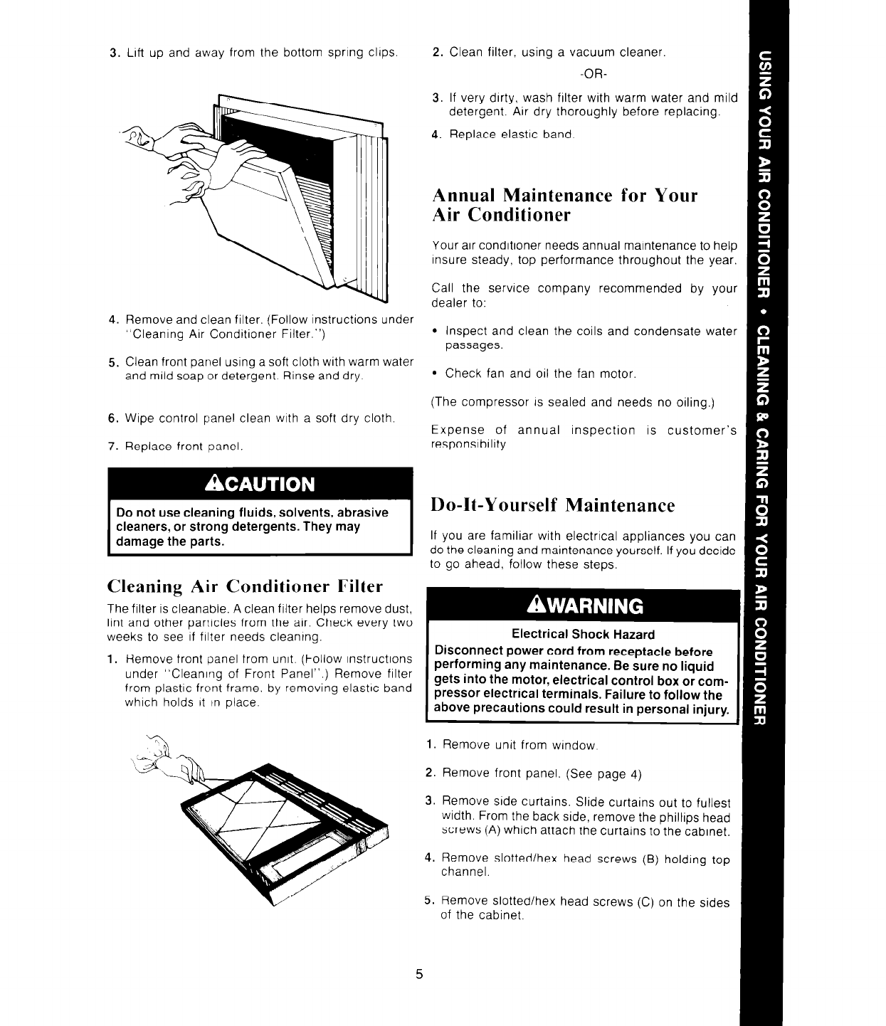 Page 5 of Whirlpool Air Conditioner ACO802XS User Guide