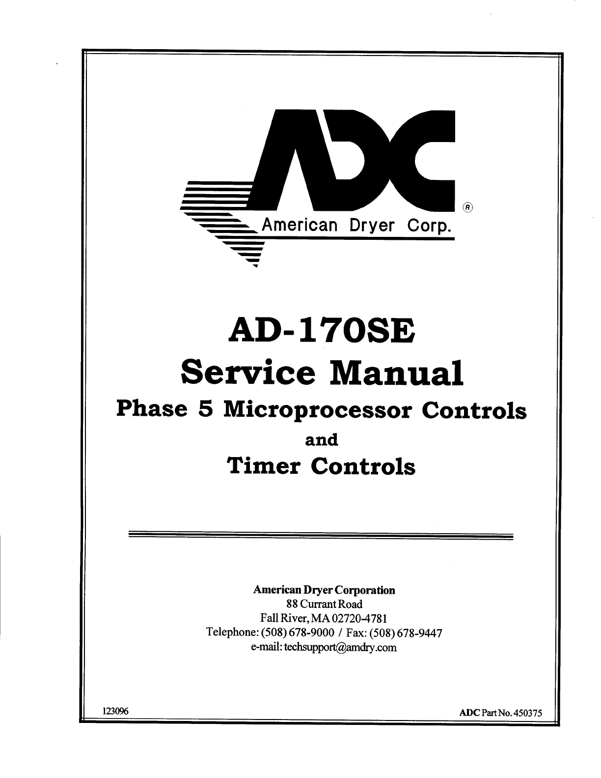 American Dryer Corp. Clothes Dryer AD-170SE User Guide