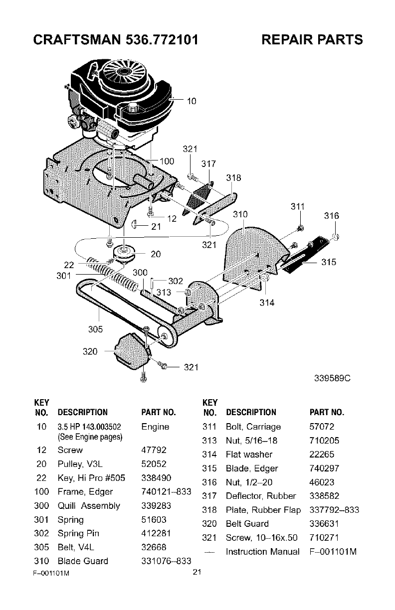 Page 21 of Craftsman Lawn Mower 536.772101 User Guide