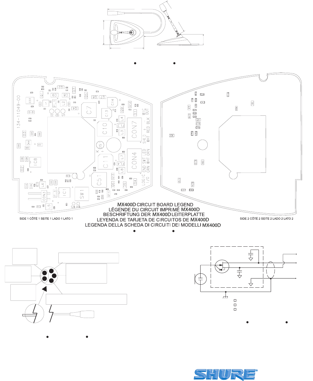 Wiring at dsx array page 12 of shure musical instrument mx400d user guide rh music manualsonline