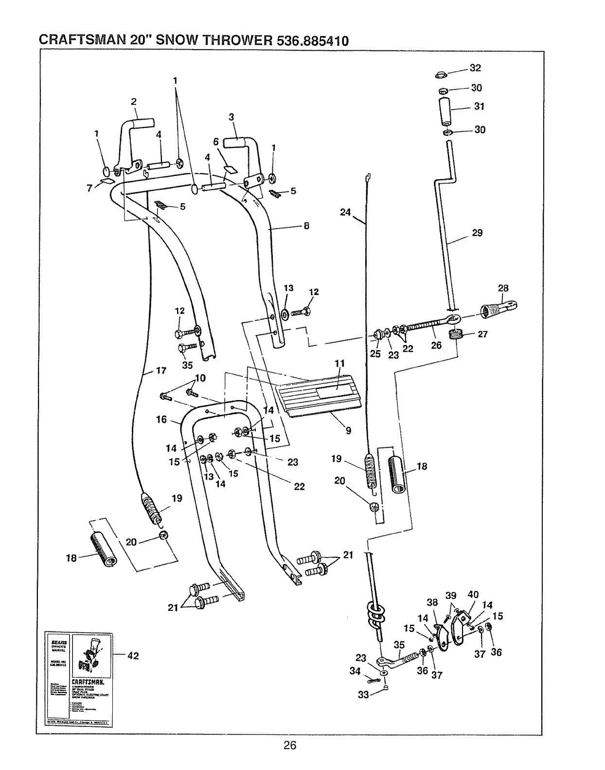 Page 26 of Sears Snow Blower 536.885410 User Guide