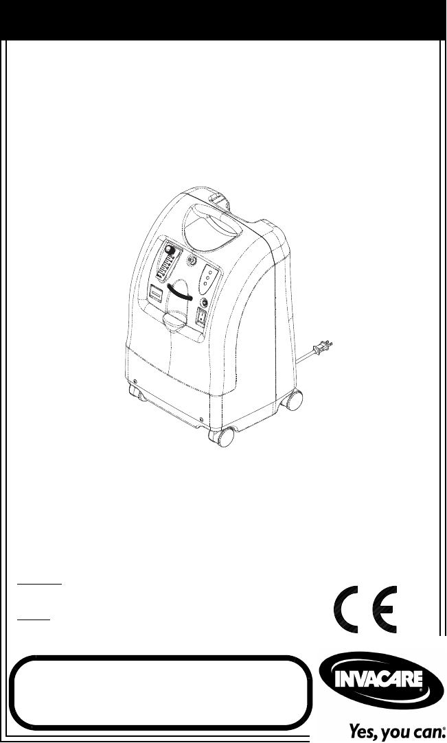 Invacare Oxygen Equipment IRC5PO2AW User Guide