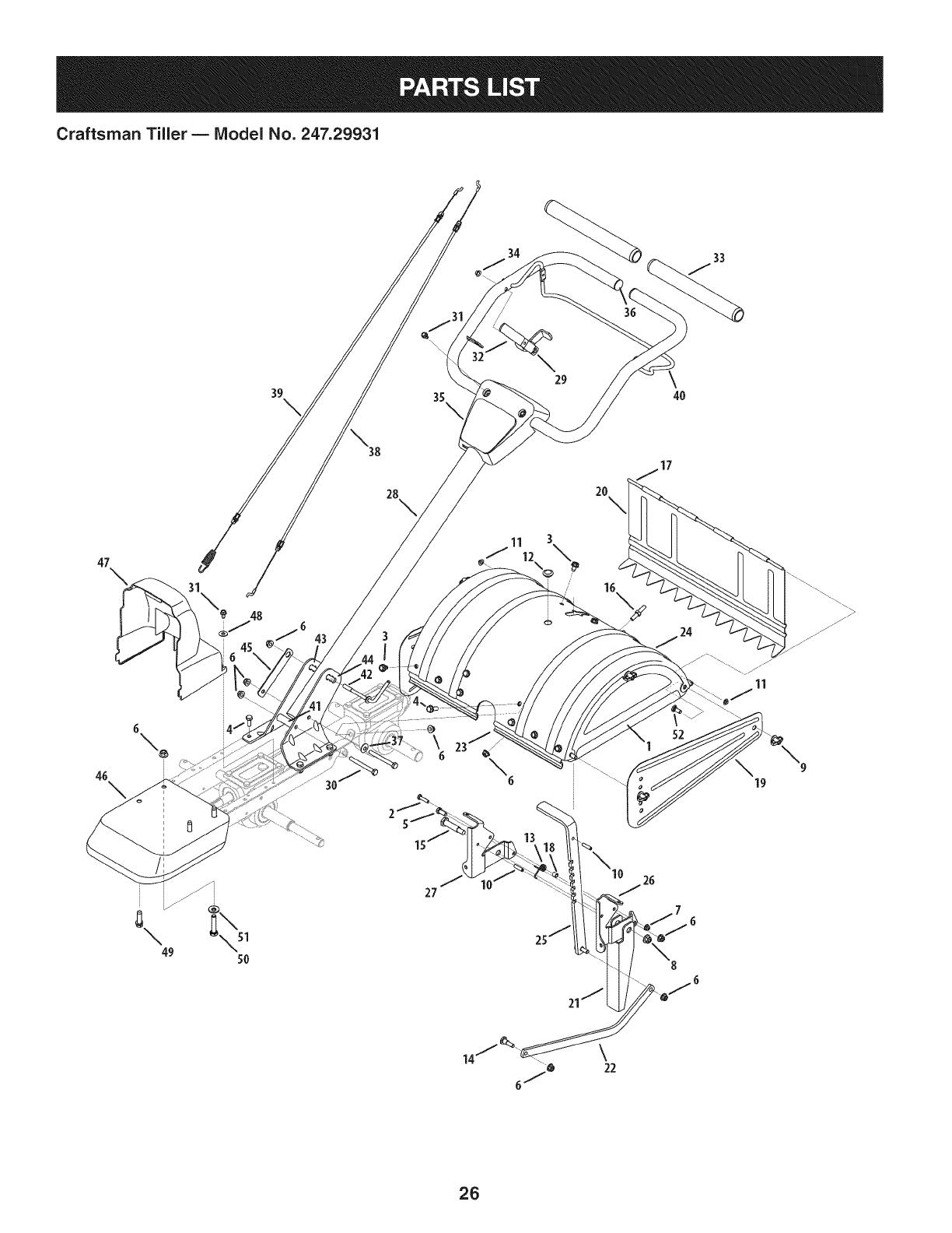 Page 26 of Craftsman Tiller 247.29931 User Guide
