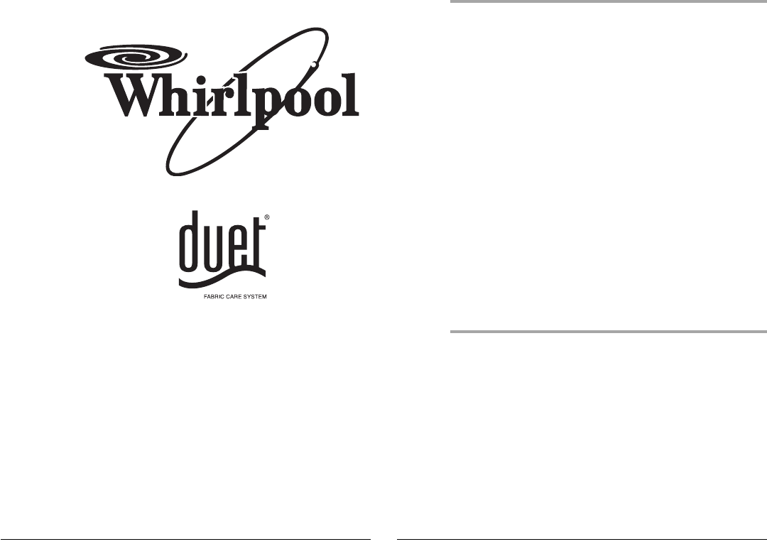 Whirlpool Clothes Dryer W10270752A User Guide