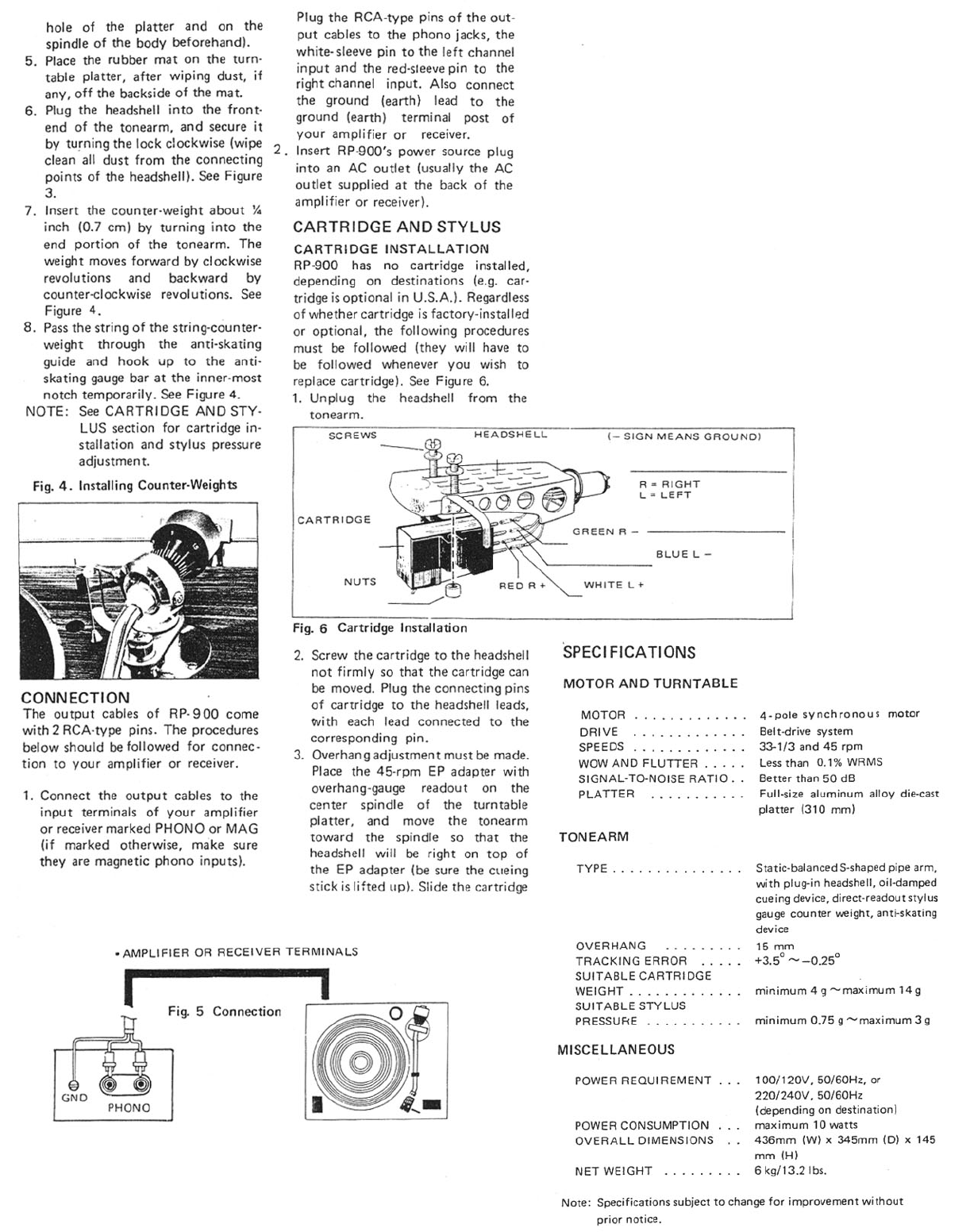 Page 3 of Rotel Turntable RP-900 User Guide