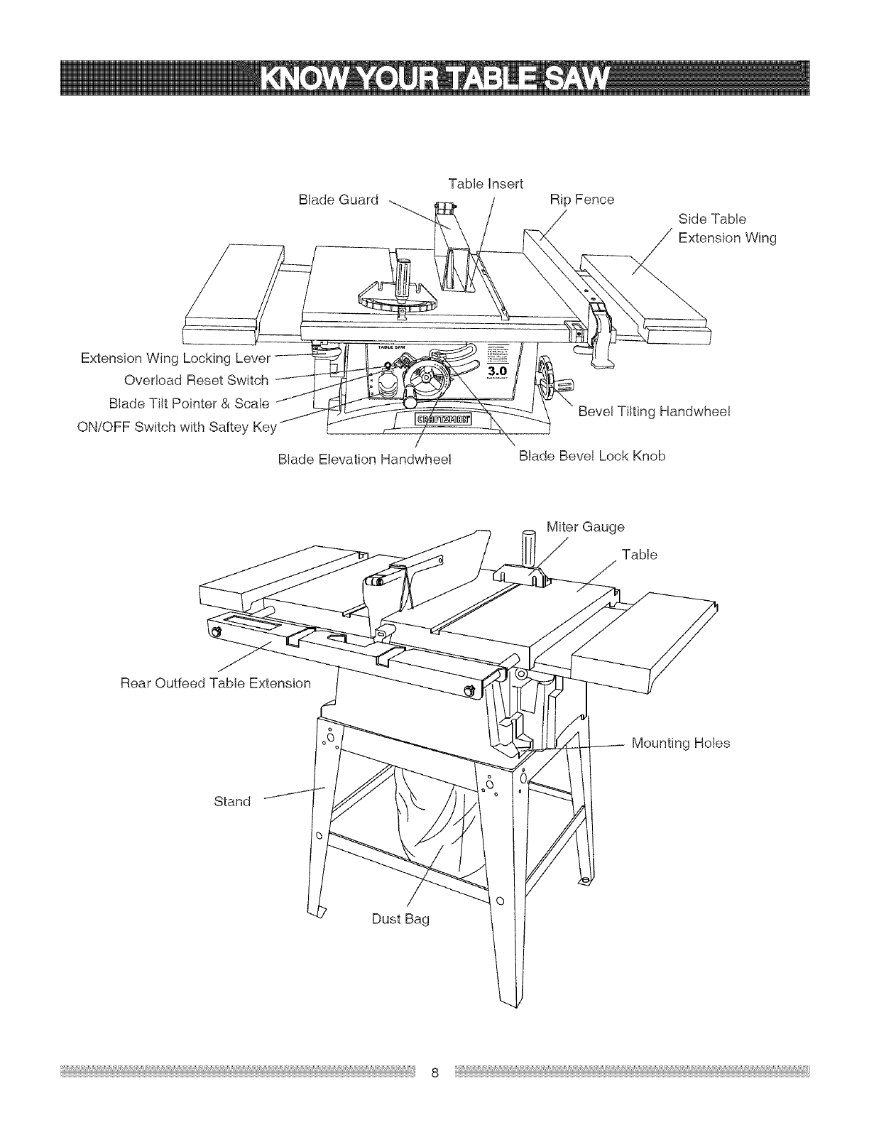 Page 8 of Craftsman Saw 137.24884 User Guide