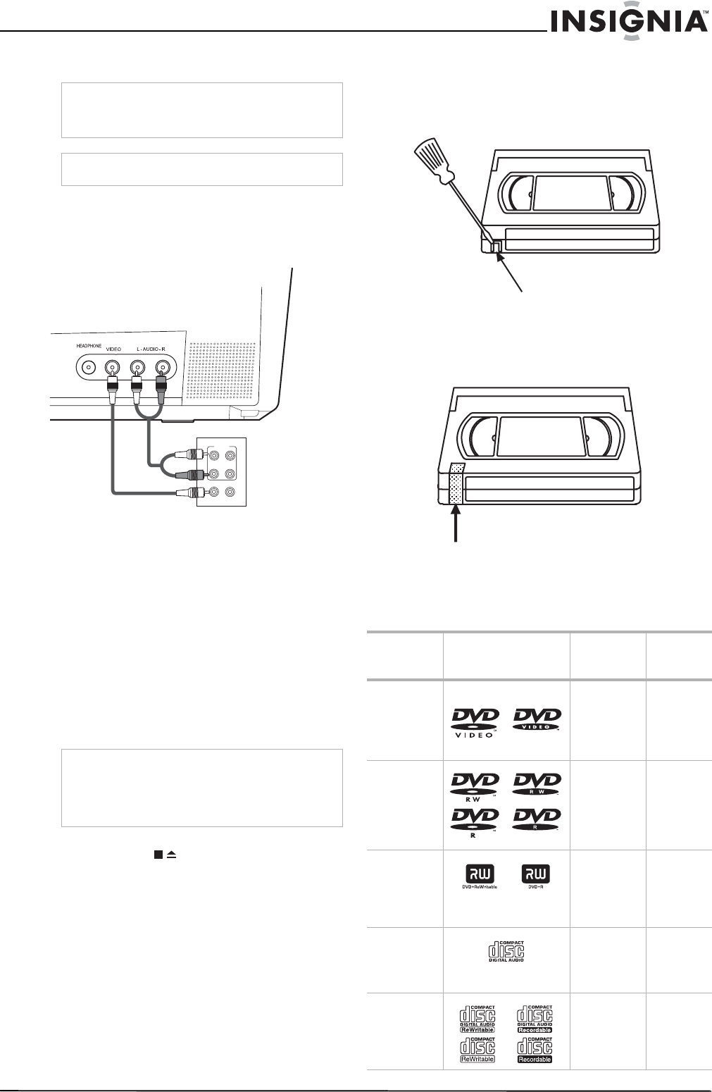 Page 21 of Insignia DVD VCR Combo NS-F20TR User Guide