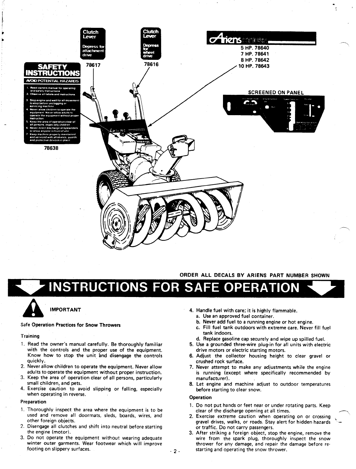 Page 2 of Ariens Snow Blower 924000 Series User Guide