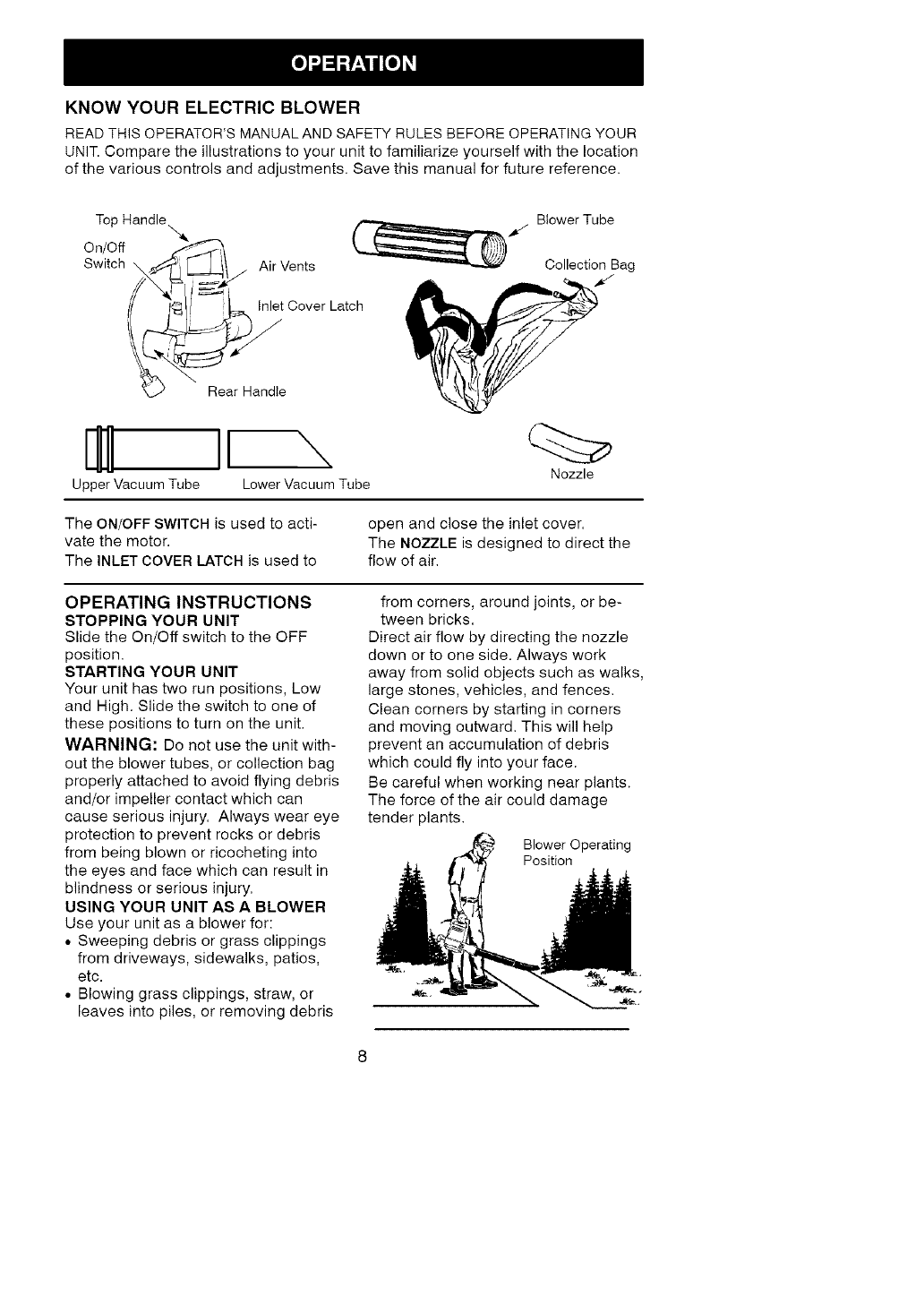Page 8 of Craftsman Blower 358.798370 User Guide