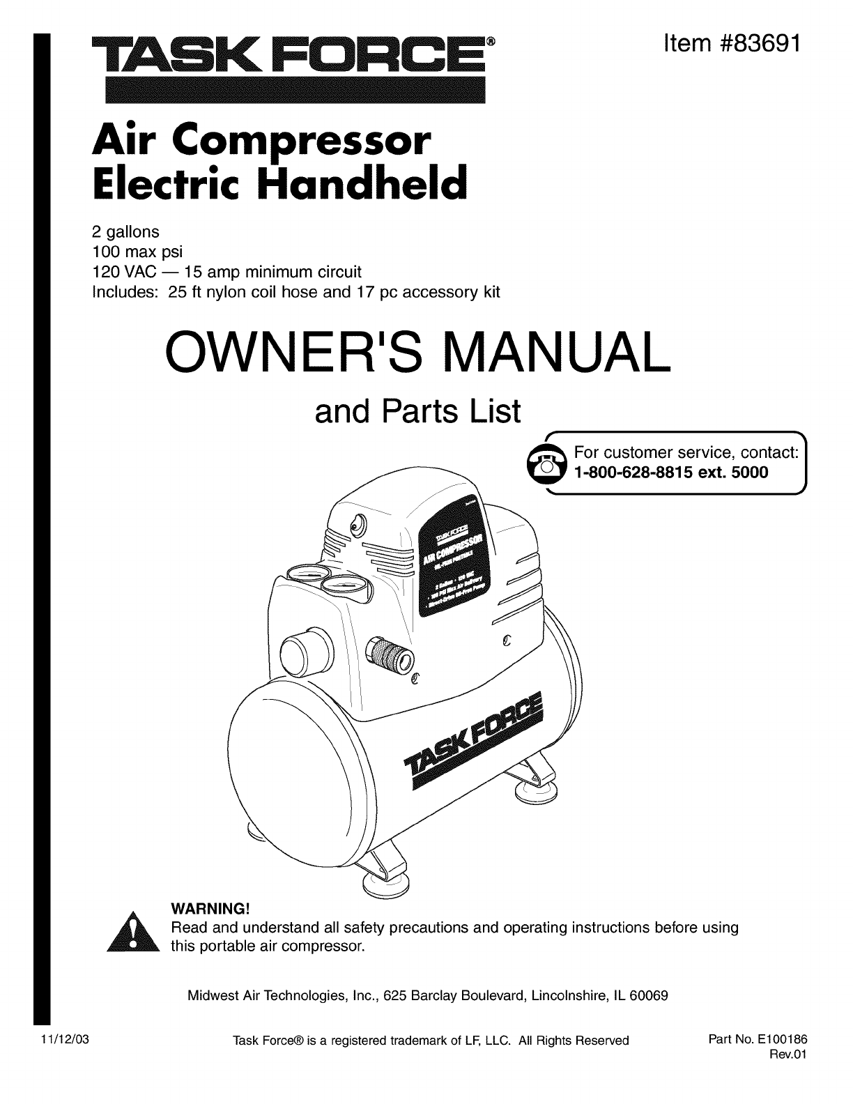Task Force, a Lowe's brand Air Compressor 83691 User Guide