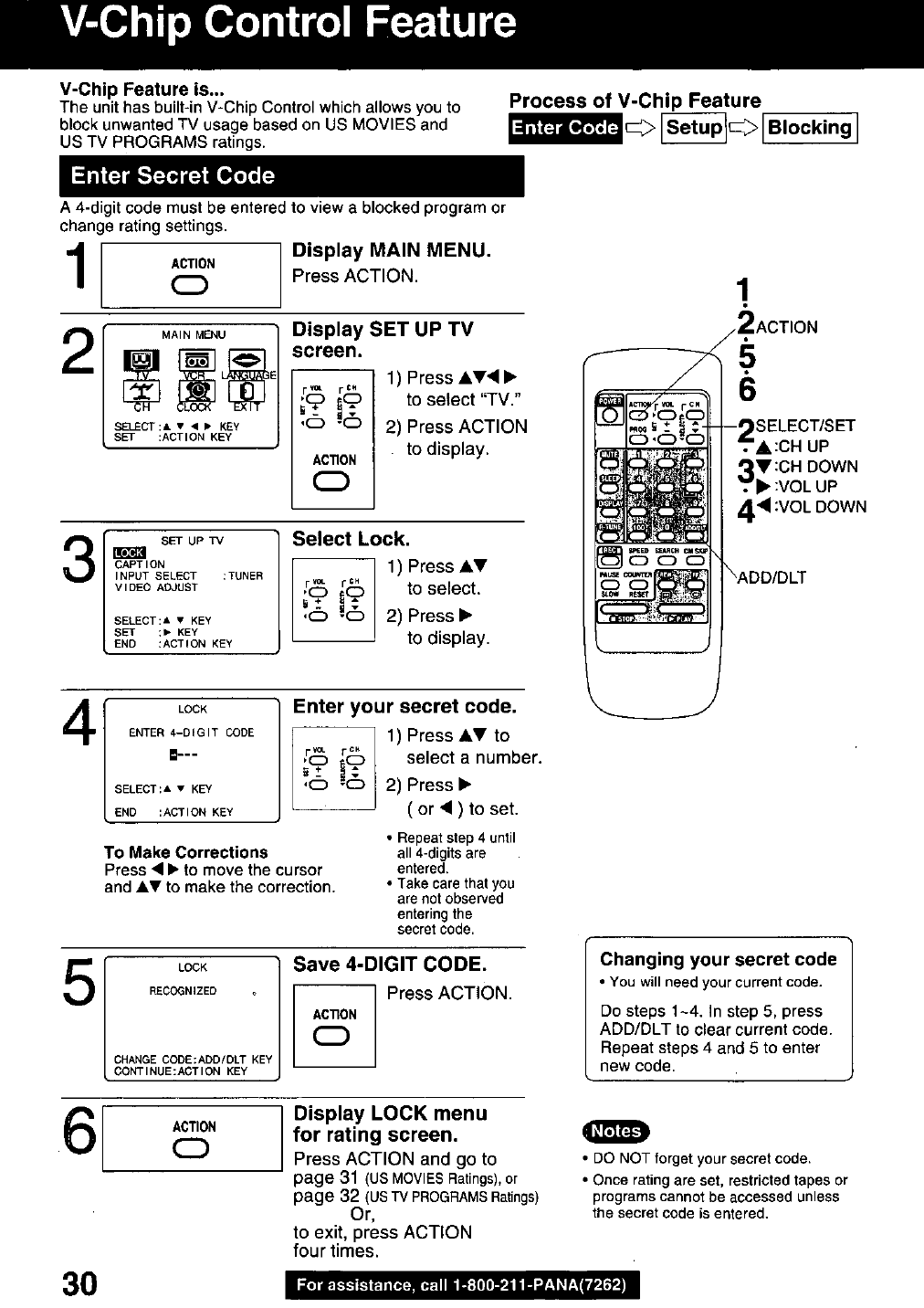 Page 30 of Panasonic DVD VCR Combo PVQ-2510 User Guide