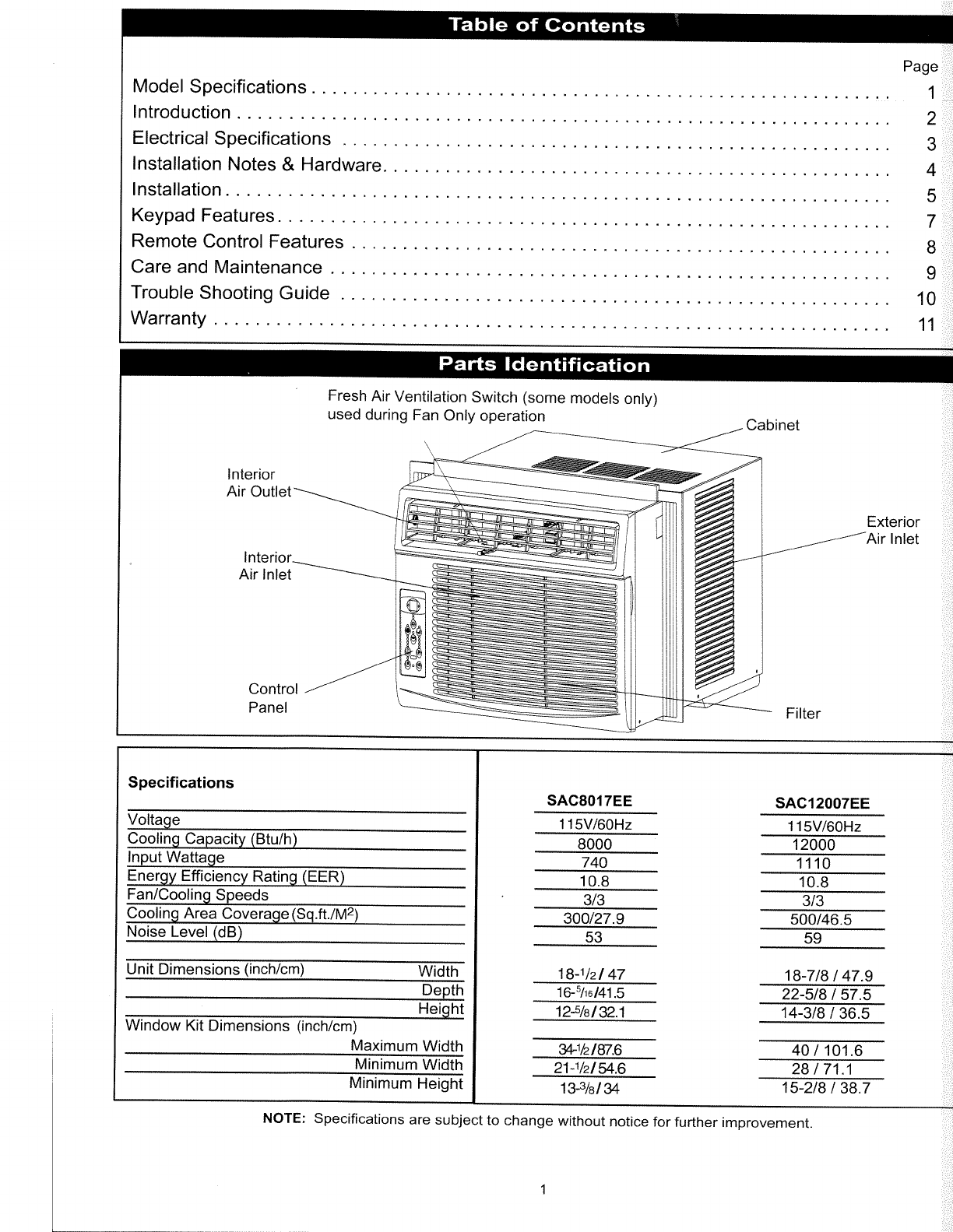 Page 2 of Simplicity Air Conditioner SAC8017EE User Guide