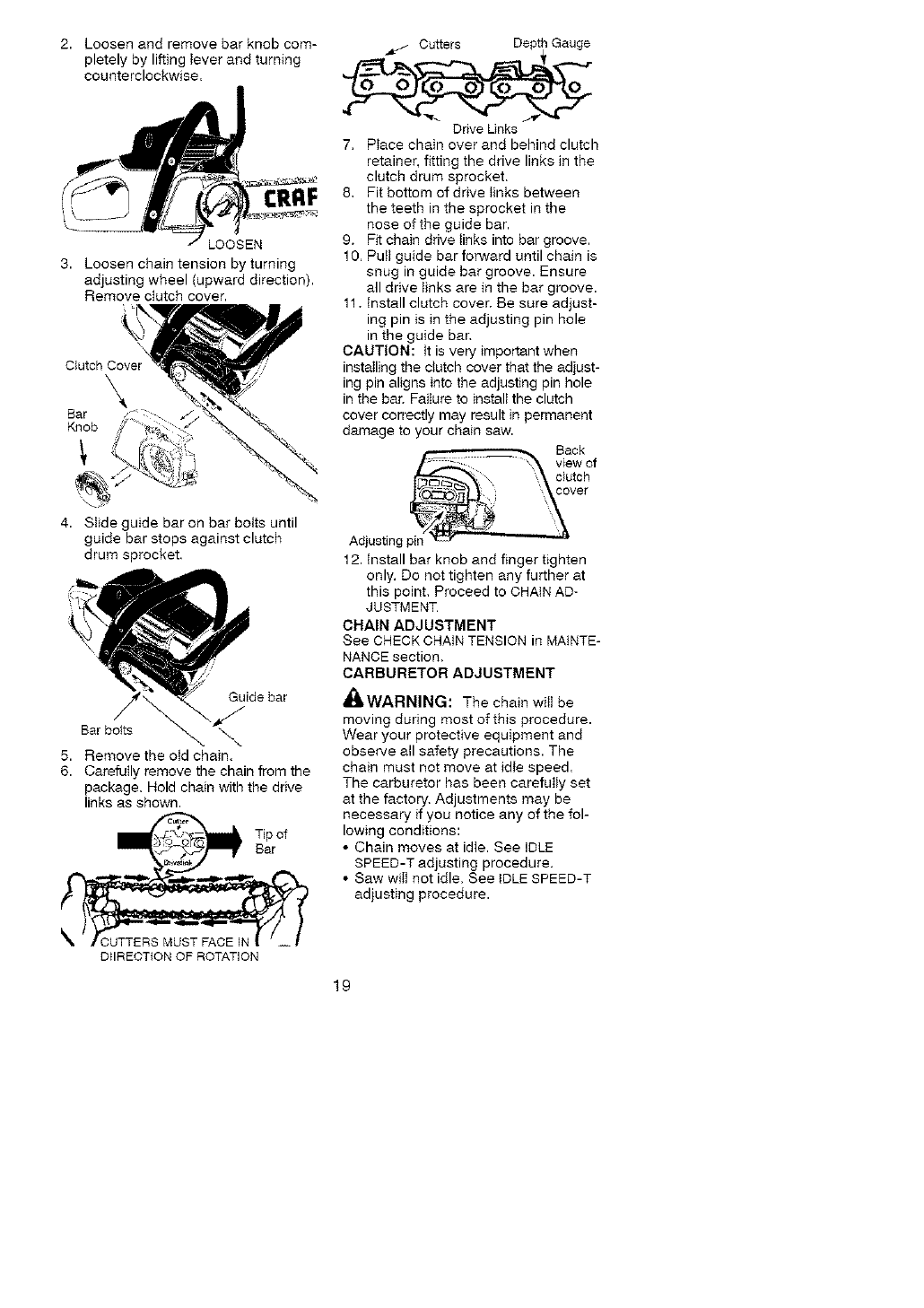 Page 19 of Craftsman Chainsaw 358.35181 User Guide