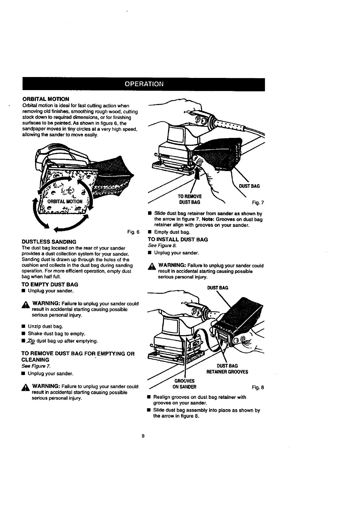 Page 9 of Craftsman Sander 315.277011 User Guide