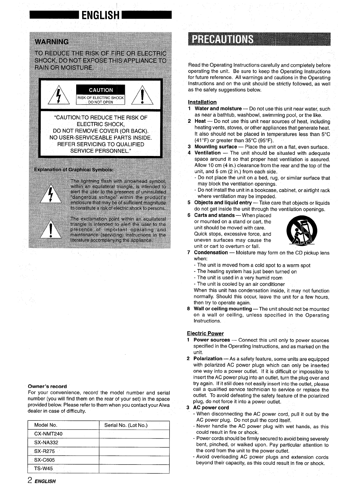 Page 2 of Aiwa CD Player CX-NMT240 User Guide