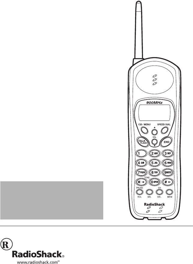 Radio Shack Cordless Telephone 43-3817 User Guide