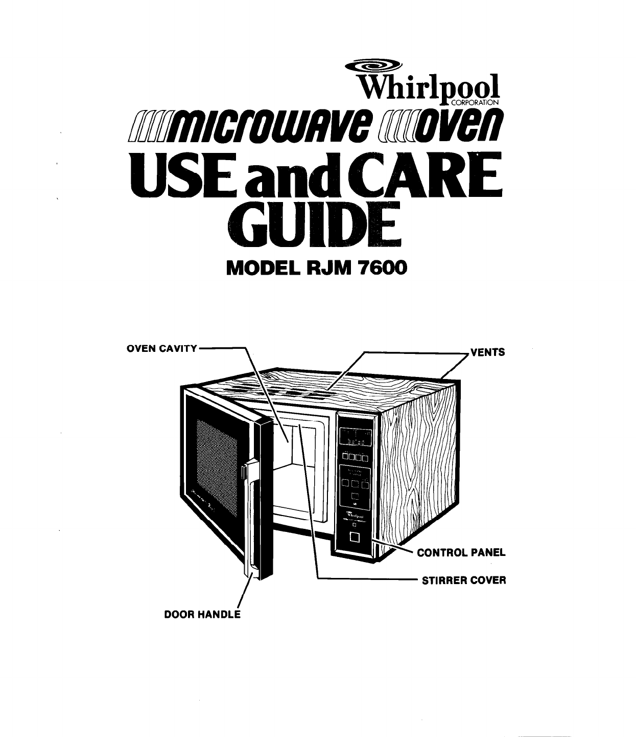 Whirlpool Microwave Oven RJM7600 User Guide