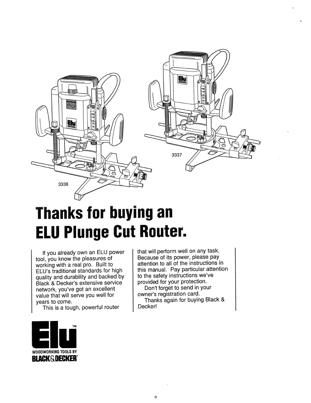Page 2 of Black & Decker Router 3337 User Guide