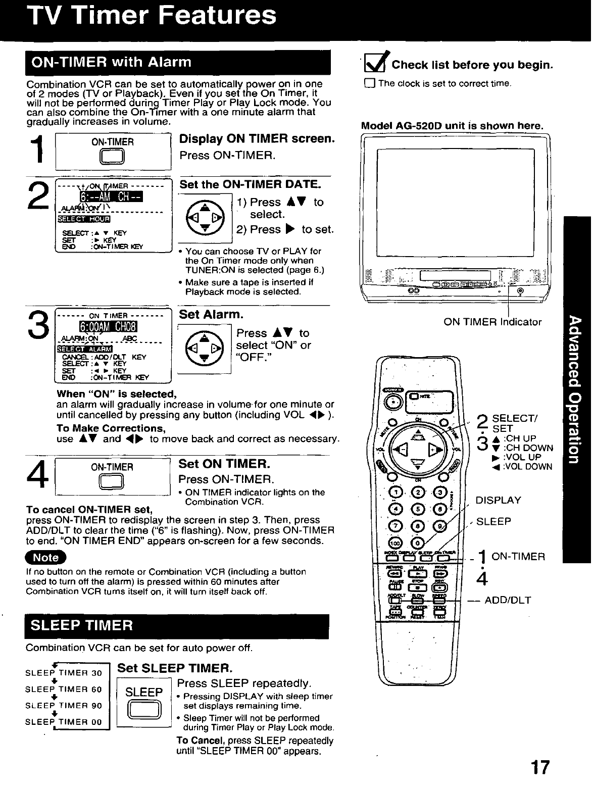 Page 17 of Panasonic TV VCR Combo AG-513D User Guide