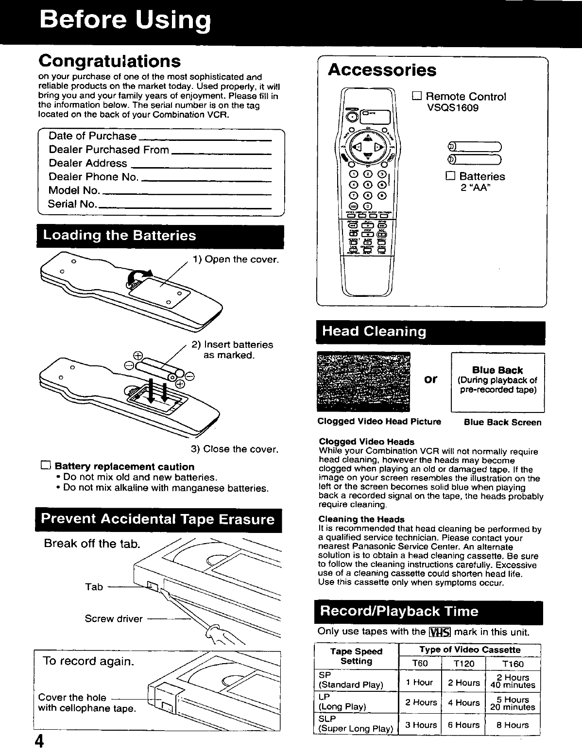 Page 4 of Panasonic TV VCR Combo AG-513D User Guide