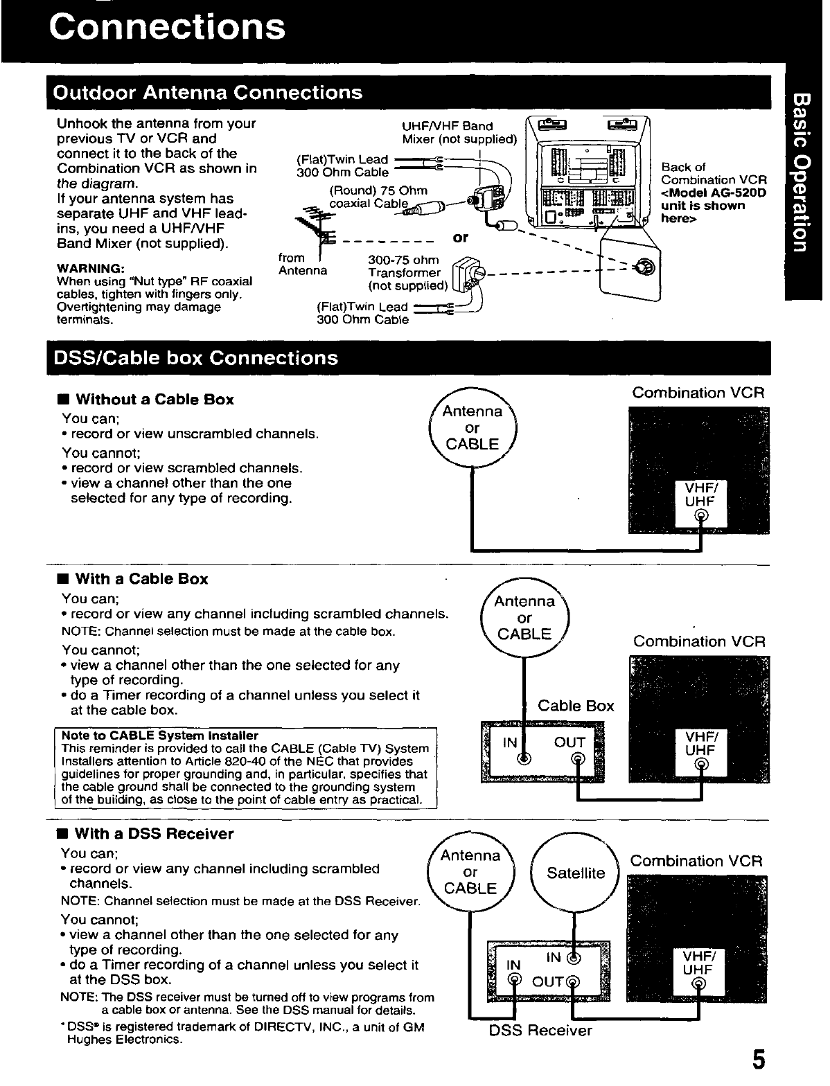 Page 5 of Panasonic TV VCR Combo AG-513D User Guide