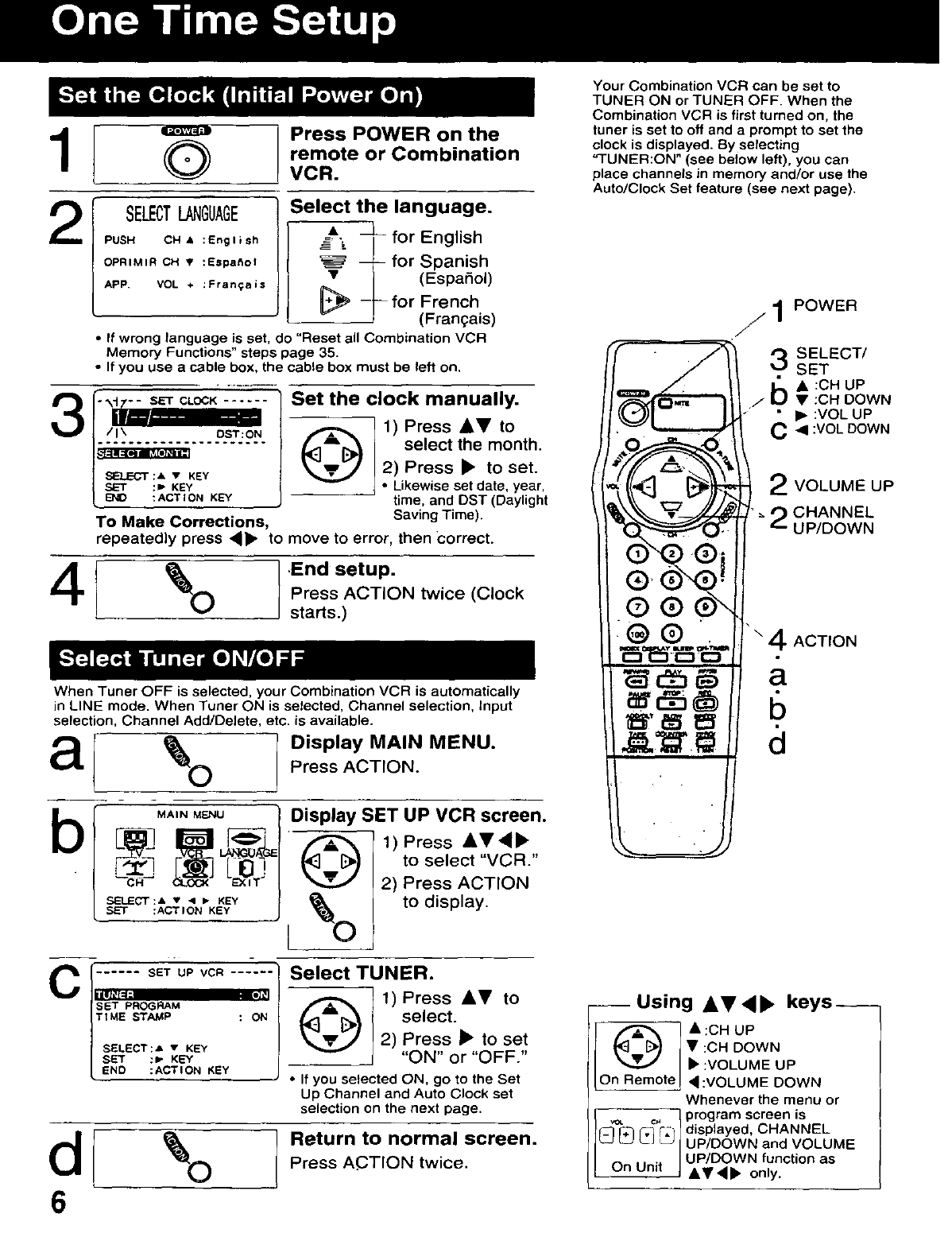 Page 6 of Panasonic TV VCR Combo AG-513D User Guide