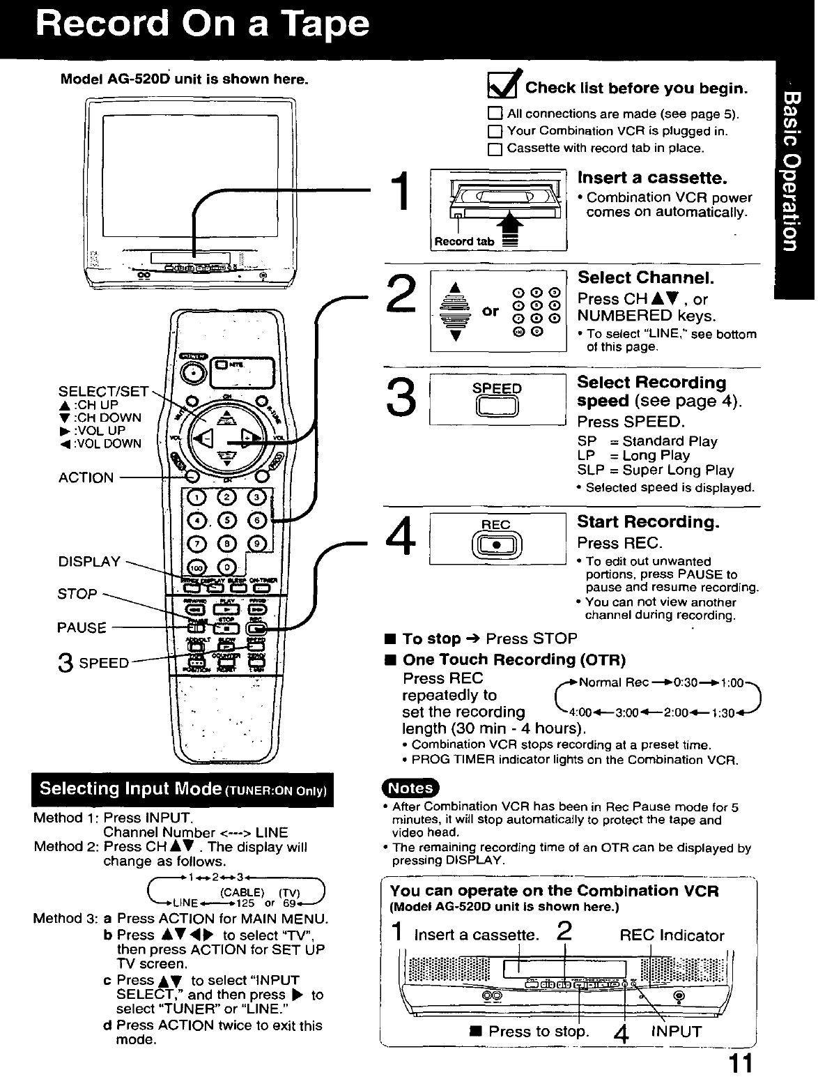 Page 11 of Panasonic TV VCR Combo AG-513D User Guide