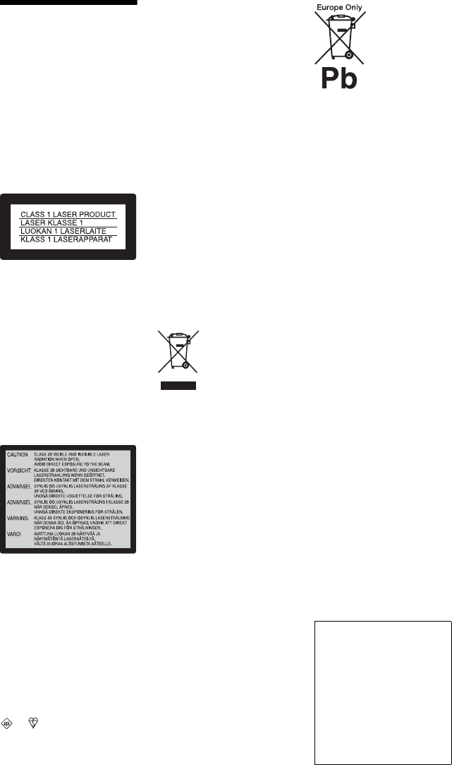Page 2 of Sony DVD Recorder RDR-GX350 User Guide