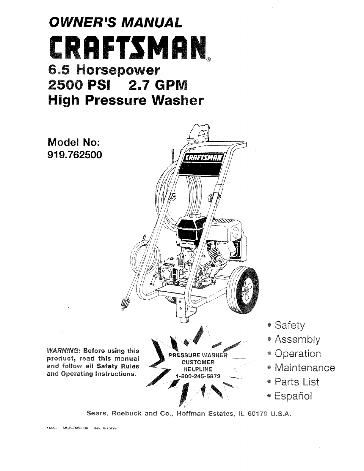 Craftsman Pressure Washer 919.762500 User Guide