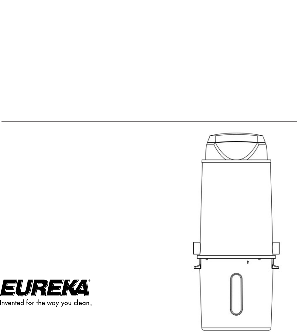 Eureka Vacuum Cleaner Central Vacuum Cleaner User Guide